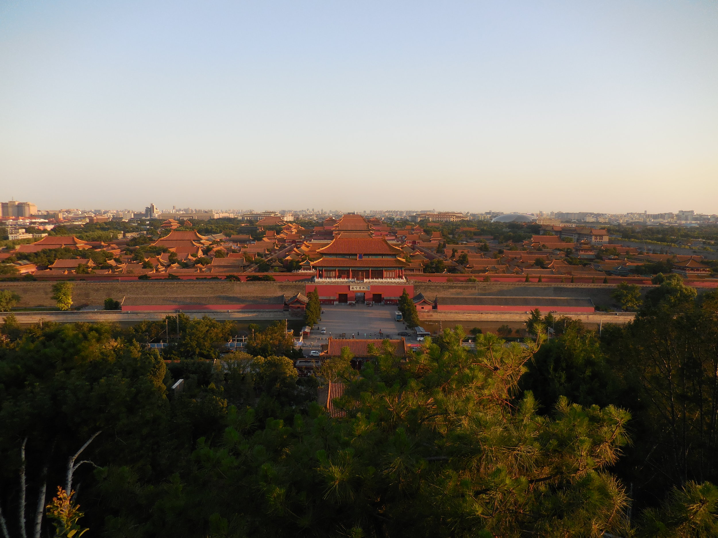 Looking south from the Imperial Gardens toward the Forbidden City. Notice how the entire complex is organized around a strong major axis and locates all of the larger main buildings. This planning philosophy is a direct motive from Confucian ideals and rigor.