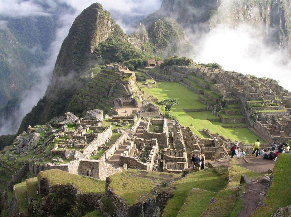 The Ancient Incan ruin city of Machu Picchu, located in modern day Peru. It placed elegantly on top of a hill and till this day it is unknown what this building complex was used for.