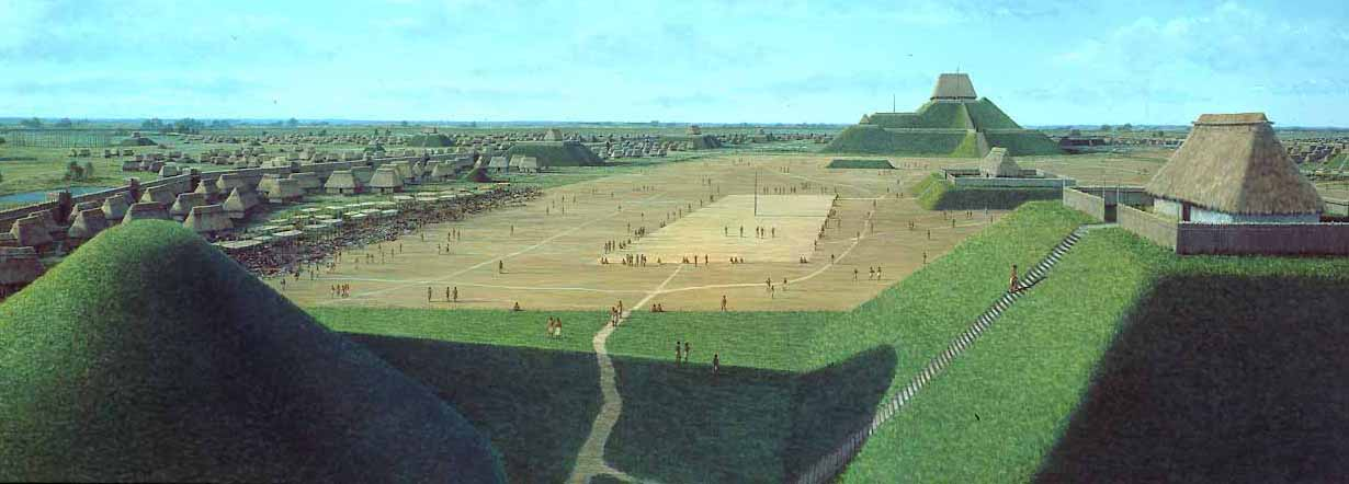 Mississippian Native Tribes built mound structures just like their contemporaries to the south. But, instead of stone, these indiginous peeople built their temples, shrines and cities out of the earth itself. This artist's image is of Cahokia, the largest settlement of the Mississippian people. It was located along the Mississippi River in what is now St. Louis.