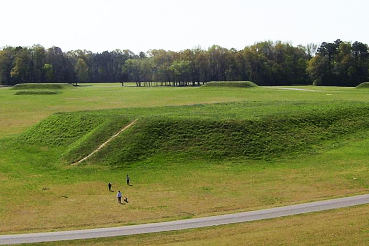 A ruin mound city built by the Mississippian tribes, located in Tuscaloosa, Alabama.