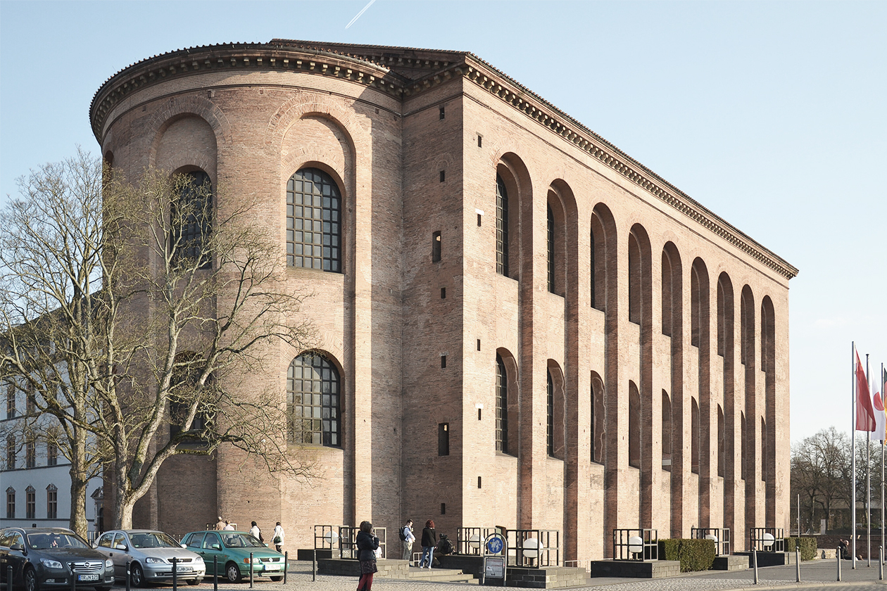 The Basilica of Constantine in Trier, Germany.(also called Aula Palatina) built by the Emperor Constantine in 310 AD. It's one of the largest remaining halls from antiquity and a great example of early Christian Church design adapted from a pagan Roman building type. Elements of the basilica are easily seen.