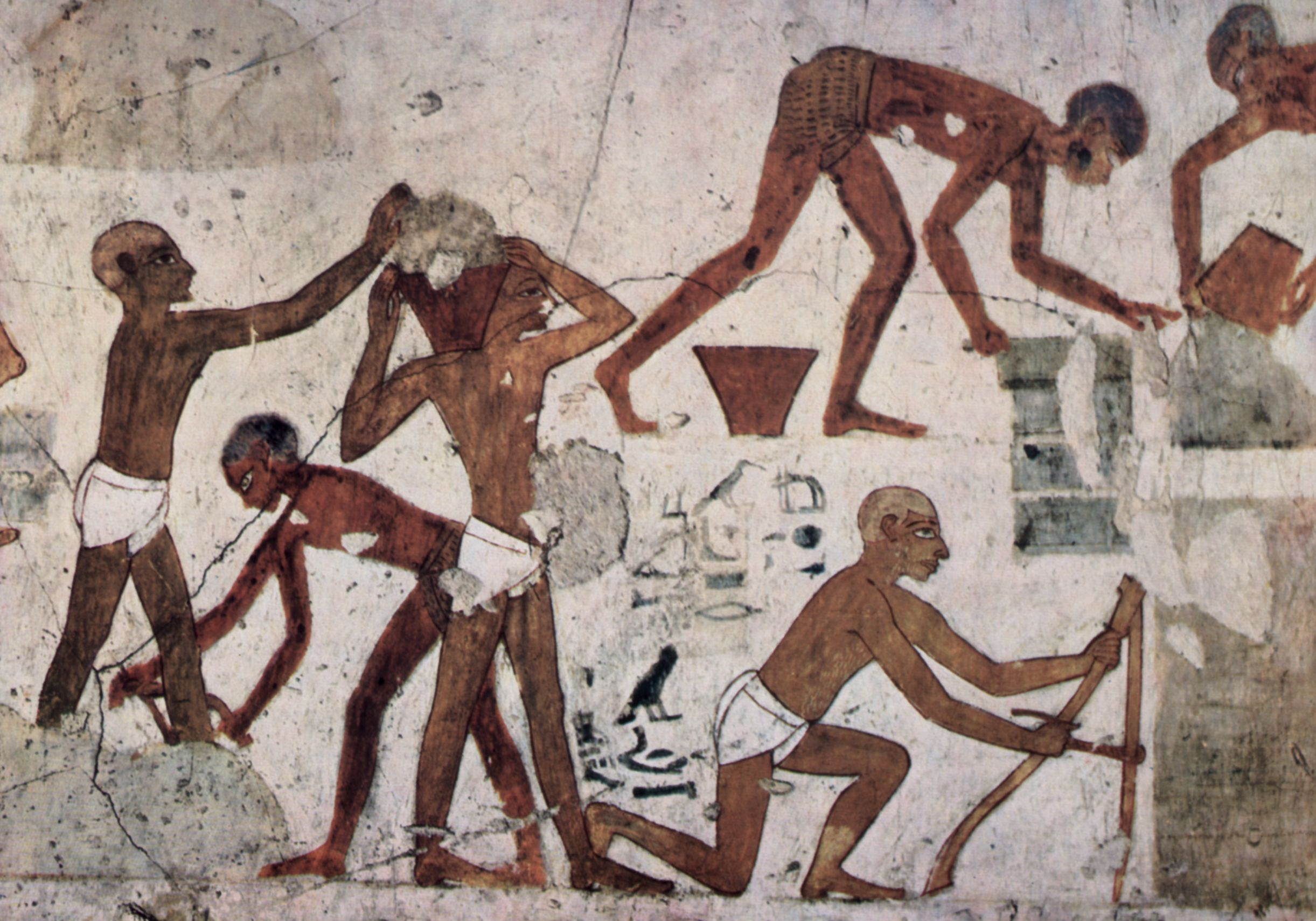 The monuments of antiquity were built from a combination of skilled and slave labor. This painting shows skilled Egyptian craftsmen quarrying, shaping, and transporting stones as well as making mud bricks. These ancient tradesmen were some of the first 'architects'.