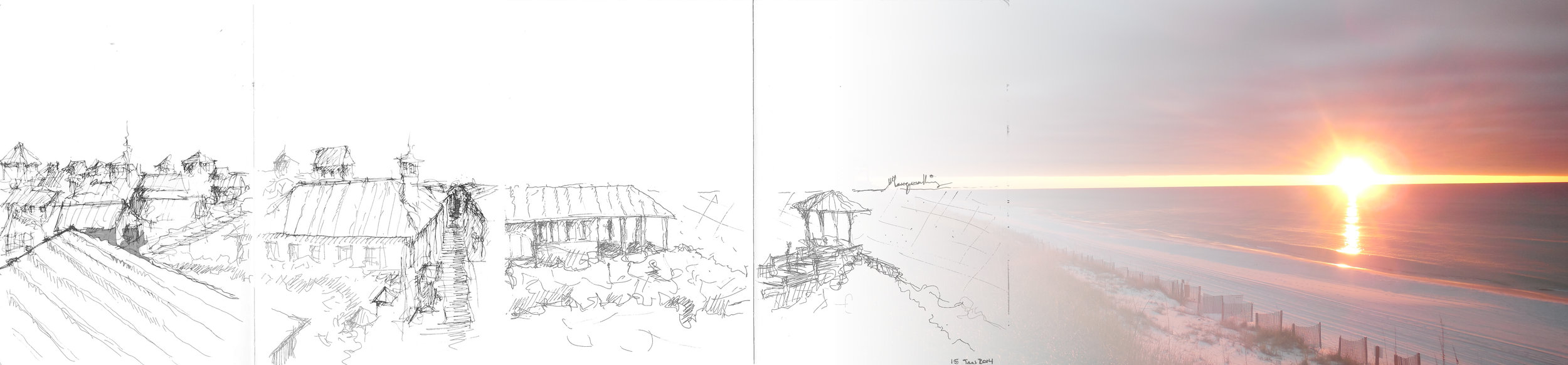 A sketch of the rooftops in Seaside, Flordia merged with a photograph of the sun setting over the Gulf of Mexico horizon. It is an accurate depiction of the sunset experiences afforded to residents and visitors of Seaside because of good design vision by the town's architects and urban designers. (Sketch by Marques King)