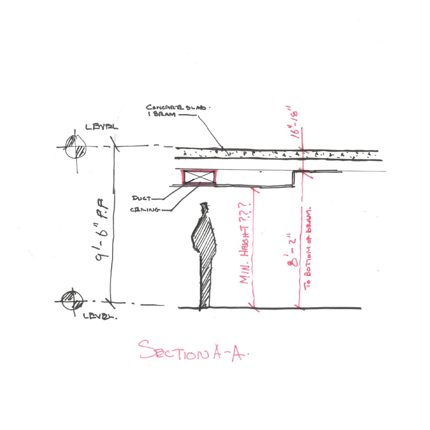 A architect's construction sketch coordinating the location of a supply duct in the ceiling of a corridor.(Sketch my Marques King)