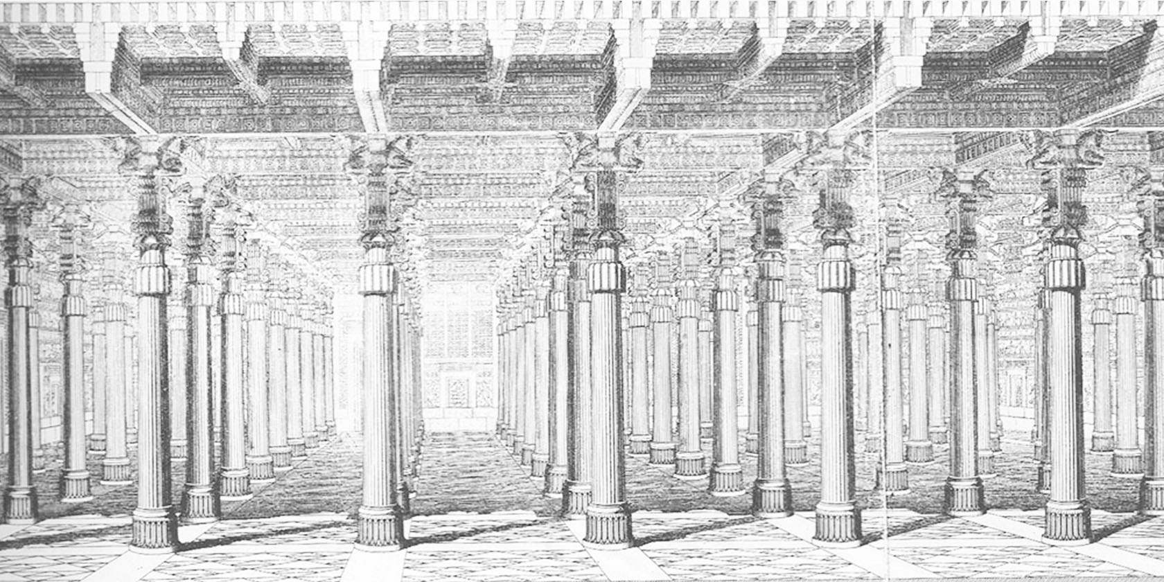 An artist's rendering of what Persepolis might have looked like. Note the ornement at the tops of the columns and the eastern-asian influences in the manners the support beams rest on them.