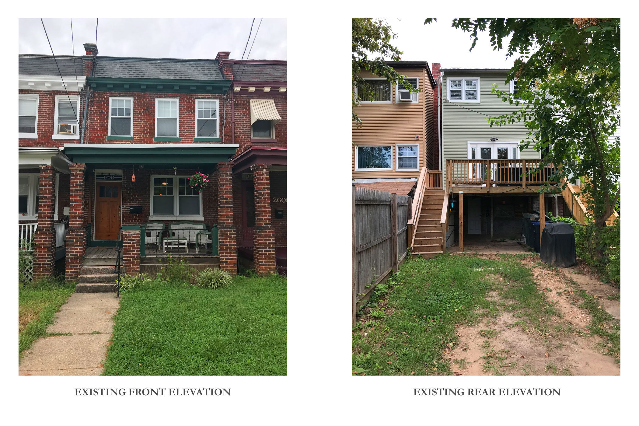 Existing Front and Rear of the Rowhouse
