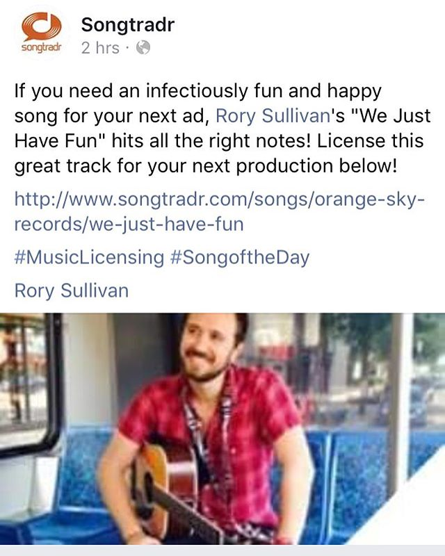 A big thanks to @songtradr for naming our new song 'We Just Have Fun' as their Song of the day!