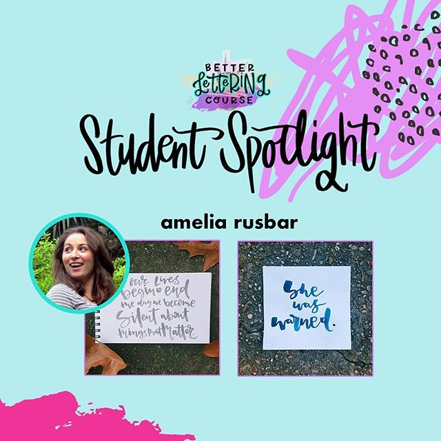 Happy Friday, lettering lovers! Most of you know we are BIG believers in the power of *consistent* practice for improving any creative skill. To show you the AMAZING progress that practice can get you, we're sharing some #BLCStudentSpotlight stories on the blog in the coming weeks.⠀ ⠀ Today's post features @hellyeahbrushlettering! You can click through and read more about Amelia's lettering journey and definitely check out her Instagram to see how her lettering has evolved. We hope it inspires you to keep carving out time to create and keep practicing!⠀ ⠀ If you're ready to dive in but need a jumpstart, be sure to enter your email on HandletteringForBeginners.com to get our free 4-day email course, Launch Your Lettering Practice! 👍⠀ ⠀ Thanks for being a part of the #BetterLetteringCourse community, Amelia! And way to commit to your creativity!⠀ .⠀ .⠀ .⠀ .⠀ .⠀ #handlettering #lettering #handlettering #letteringco #madebyhand #goodletters #handletteredtype #drawletters #digitalart #handletteringforbeginners⠀