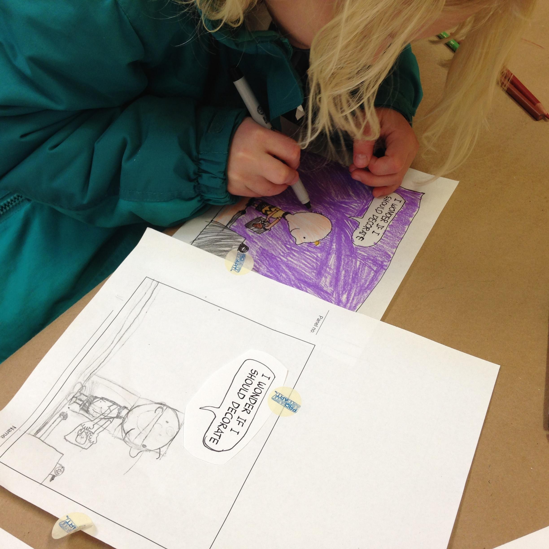 Jasmine drawing Charlie Brown preparing his turkey dinner.