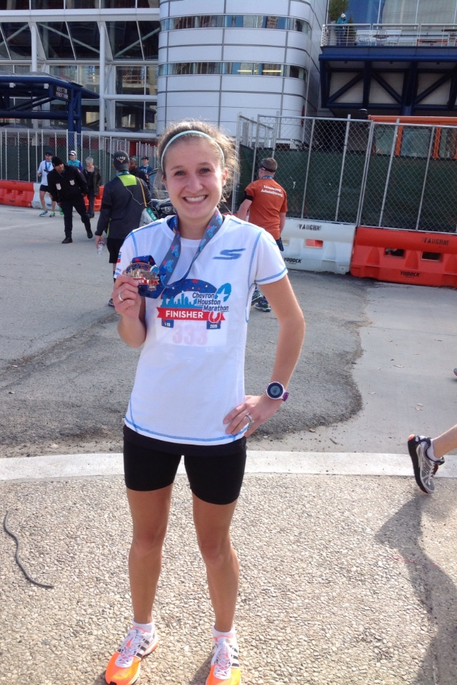 In my first marathon (2015 Houston Marathon), I qualified for the Olympic Trials! I was all smiles!