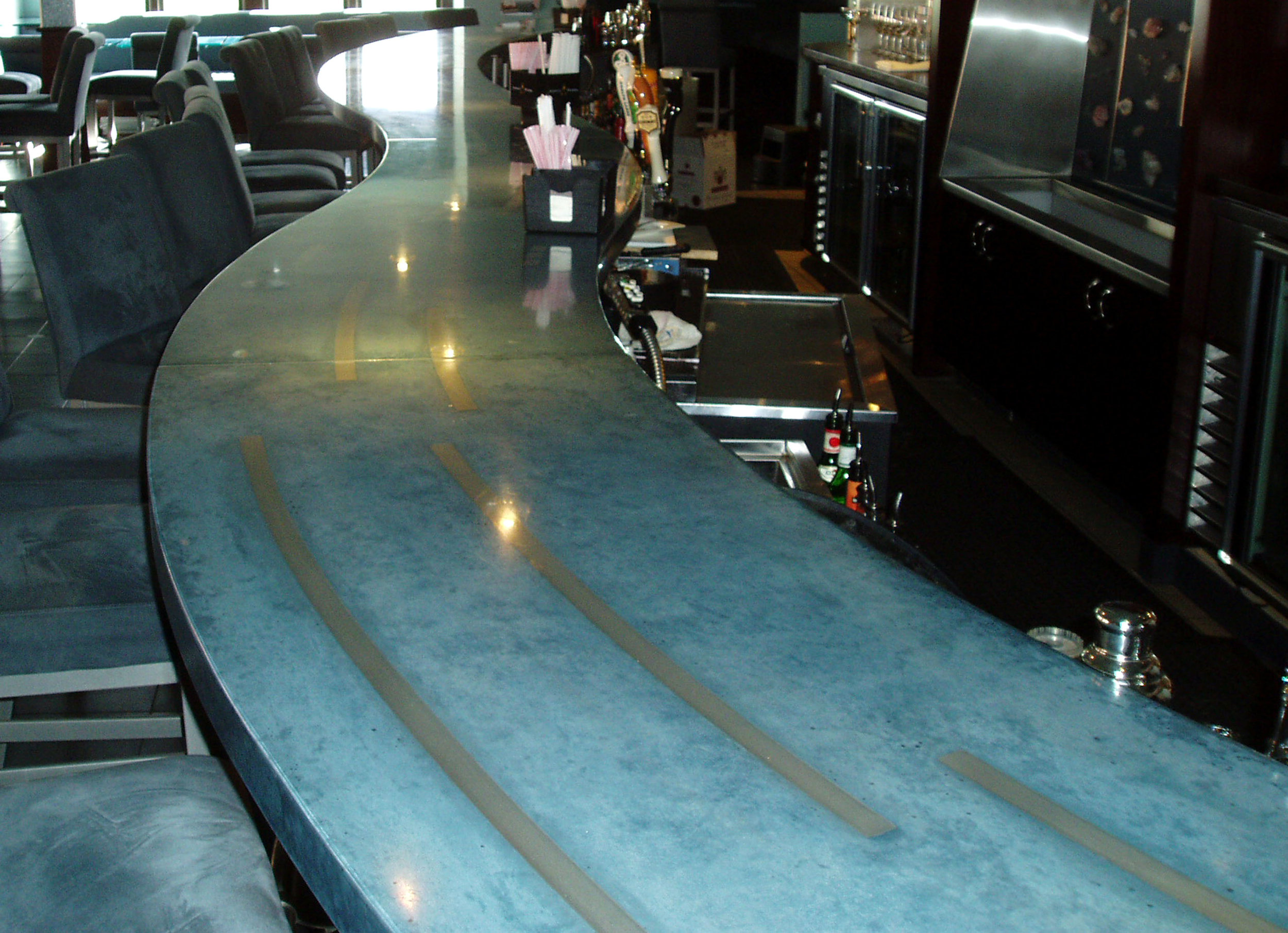 Curved Blue Concrete Bar Top