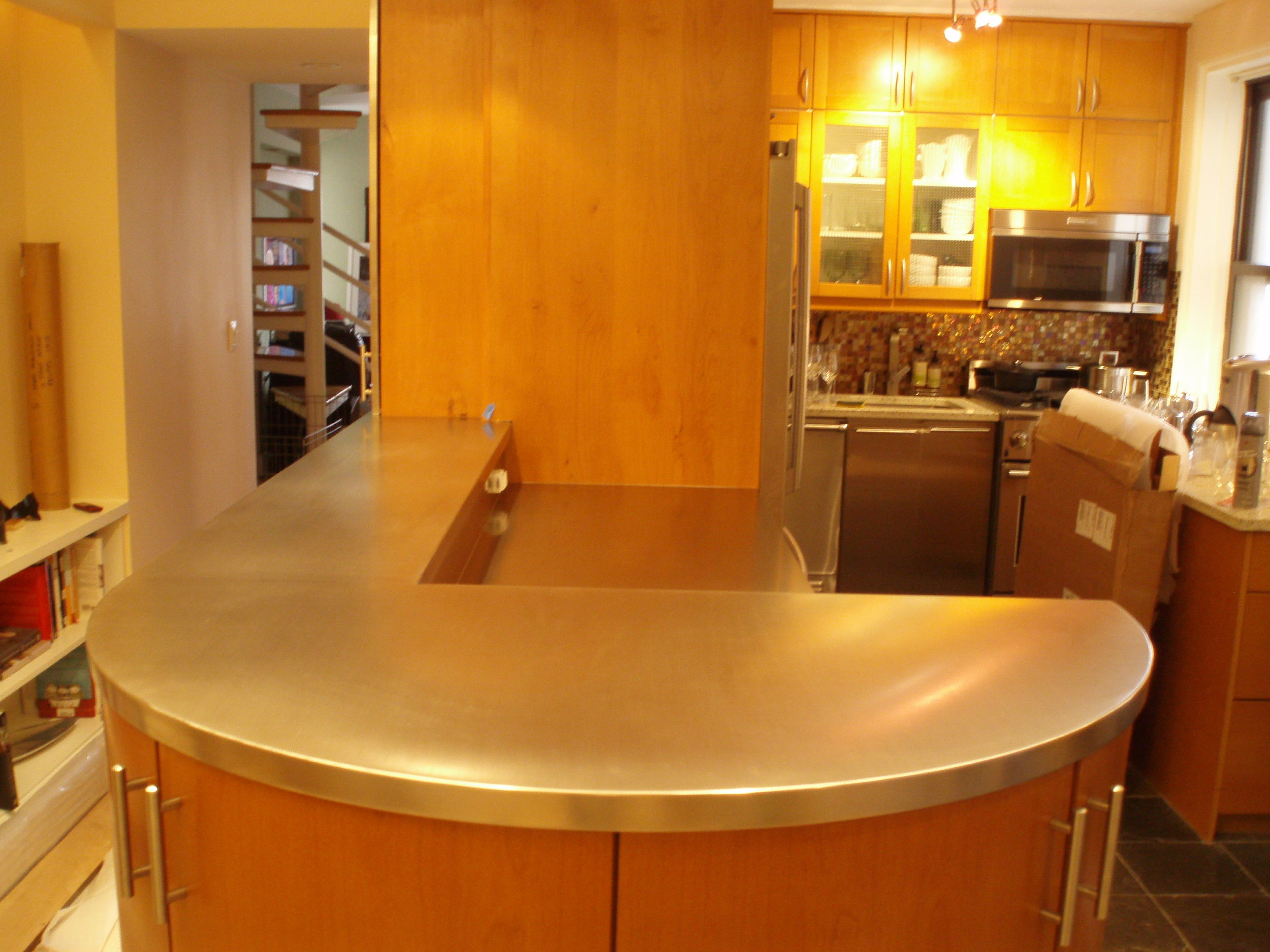 Curved Stainless Steel Bar Top