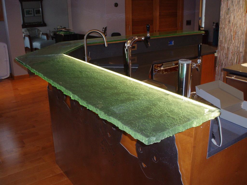 Fusion Glass Bar Top with LED Lighting