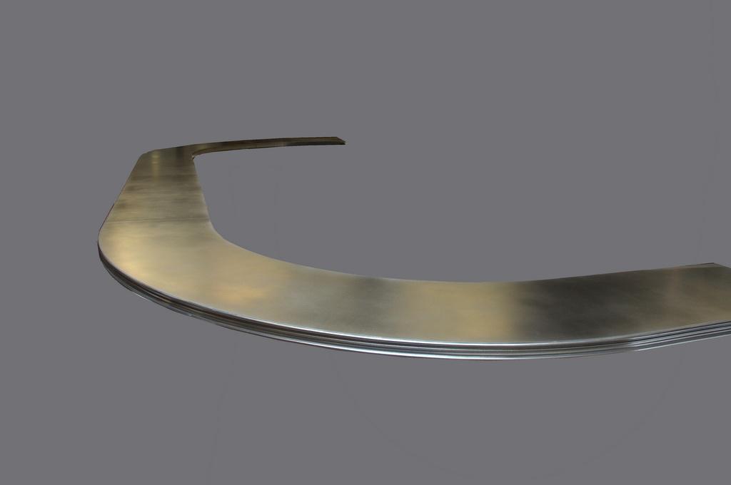 Curved Commercial Artisan Cast Zinc Bar Top
