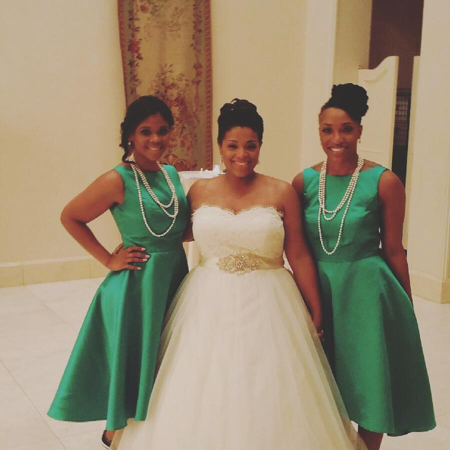 """With Dom (left) and Tiff (right) at my wedding. They insisted on being """"junior bridesmaids"""" even though they are old as hell...so they were fabulous hostesses instead..."""