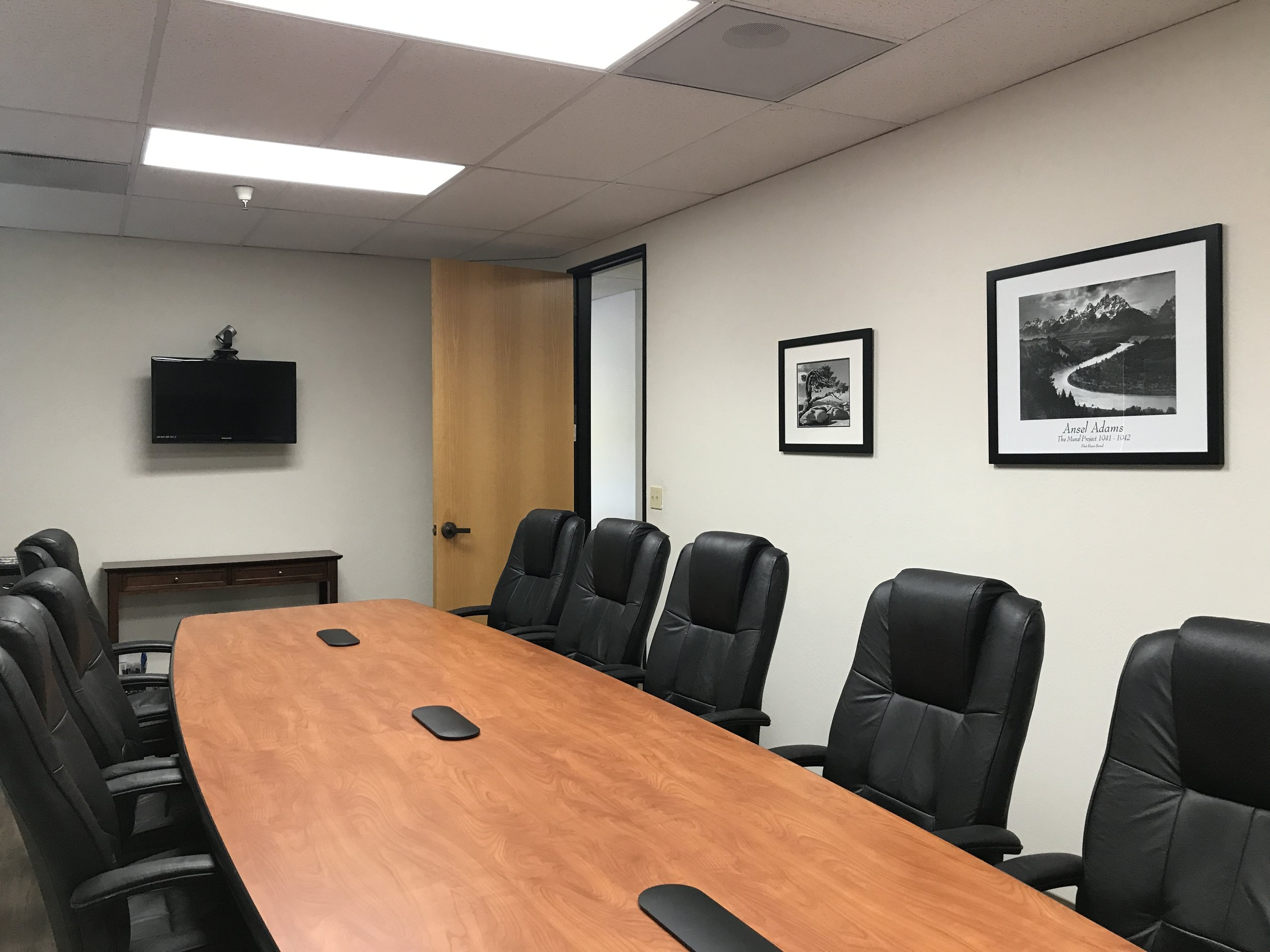 Conference Room 1 - $65/hr - Video conferencing available.