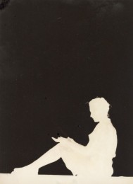 silhouette girl seated
