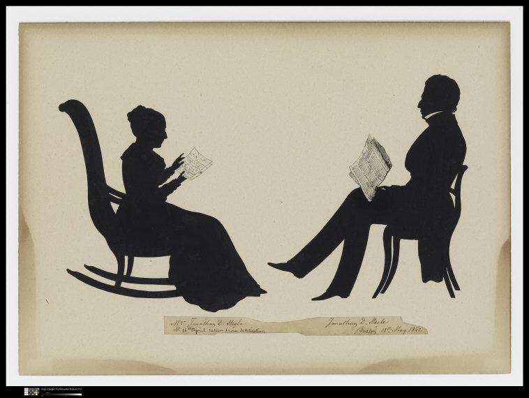 Auguste  Edouart, (1789-1861)   Mr. and Mrs. Jonathan D. Steele. 1842. Cut paper silhouette mounted on board. Left: Mrs. Jonathan D. Steele (1976.652.17); Right: Mr. Jonathan D. Steele (1976.652.18). Gift of Philip S. P. and Elisabeth W. Fell, 1976 (1976.652.17, .18).    Location:  The Metropolitan Museum of Art, New York, NY, U.S.A.    Photo Credit:  Image copyright © The Metropolitan Museum of Art. Image source: Art Resource, NY    Image Reference:  ART463982