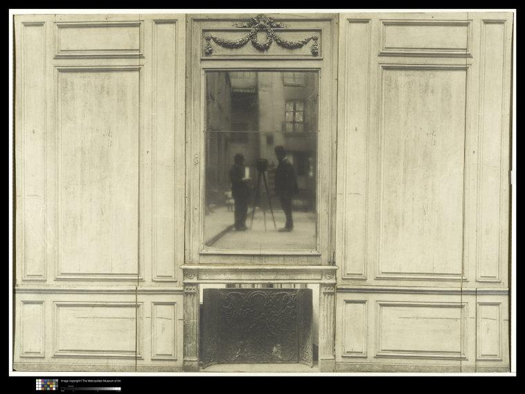 Anonymous, 20th century   [Dismantled Wood Panelling Photographed in a Courtyard with Photographer Reflected in Mirror Above Mantelpiece], 1900's-1910s. Silver gelatin print, 38.4 x 53.5 cm. (15 1/8 x 21 1/16 in. Museum Accession (x.700.3)    Photo Credit:  Image copyright © The Metropolitan Museum of Art. Image source: Art Resource, NY    Image Reference:  ART498320