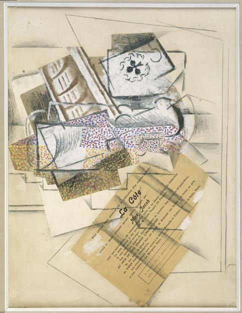 Pablo  Picasso, (1881-1973) © ARS, NY    Still Life with Glass and Playing Cards, 1914. Pencil, gouache, papier collé on paper, 35 x 46 cm. Photo: Jens Ziehe.    Location:  Museum Berggruen, Nationalgalerie, Staatliche Museen, Berlin, Germany    Photo Credit:  bpk Bildagentur / Art Resource, NY    Image Reference:  ART521966