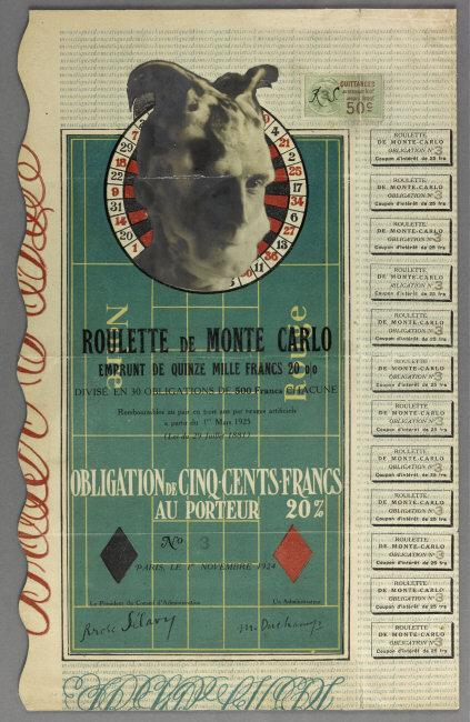 Marcel  Duchamp, (1887-1968) © ARS, NY    Monte Carlo Bond, 1924. Print collage, 31 x 19.5 cm. Inv. 19312 Gr.    Location:  Staatliches Museum, Schwerin, Germany    Photo Credit:  bpk Bildagentur / (name of museum) /(name of photographer) / Art Resource, NY    Image Reference:  ART502565