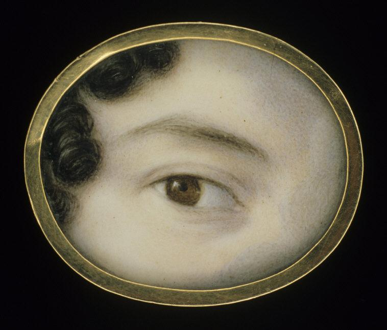 "Anonymous, 19th century    Eye of a Lady . ca. 1800. Watercolor on ivory, 13/16 x 15/16"". Gift of John Gellatly.    Location:  Smithsonian American Art Museum, Washington, DC, U.    Photo Credit:   Smithsonian American Art Museum, Washington, DC / Art Resource, NY    Image Reference:   ART133496"