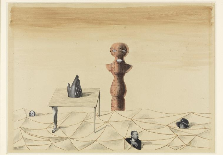 René Magritte,(1898-1967) © ARS, NY    Untitled , 1926. Pencil, colored pencil and watercolor on paper; 44 x 61 cm. Inv. SSG 176. Photo: Joerg P. Anders.    Location:  Sammlung Scharf-Gerstenberg, Nationalgalerie, Staatliche Museen, Berlin, Germany    Photo Credit:  bpk Bildagentur / (name of museum) /(name of photographer) / Art Resource, NY    Image Reference:  ART454301