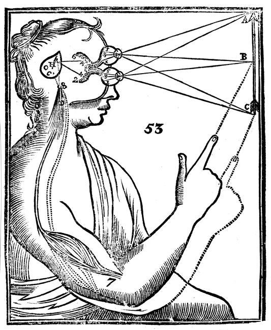 Descartes' idea of vision, 1692.    Descartes' (1596-1650) idea of vision, [1692]. The passage of nervous impulses from the eye to the pineal gland and so to the muscles. From Rene Descartes' Opera Philosophica (Tractatus de homine), 1692.    Photo Credit:   HIP / Art Resource, NY    Image Reference:   AR922746