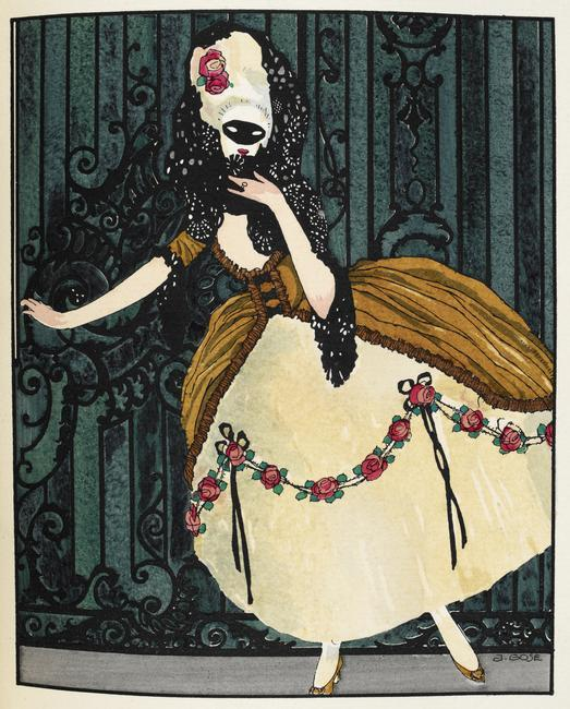 A woman wearing an eye mask and costume designed by Worth. ('En loup de cage'. Couture.) Illustrated by Javier Gose.    Photo Credit:   © British Library Board / Robana / Art Resource, NY    Image Reference:   AR9111232