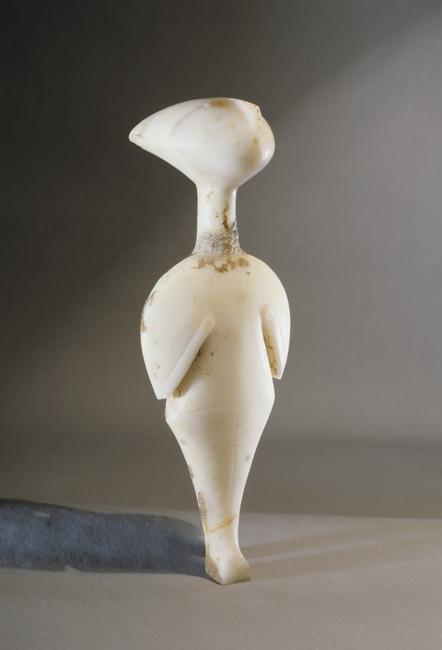 Cycladic figurine - 'star-gazer', it belongs to the Louros type of the Grotta-Pelos culture. The head has a distinctive angular shape and the eyes stare at the sky. Country of Origin: Greece. Culture: Ancient Greek/ Grotta-Pelos. Date/Period: Circa 2800-2700 BC. Place of Origin: Cyclades. Material Size: marble. Credit Line: Werner Forman Archive/Private Collection . Location: 01.    Photo Credit:   HIP / Art Resource, NY    Image Reference:   AR9148586