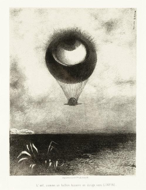 Odilon  Redon, (1840-1916)    To Edgar Poe  (The Eye, Like a Strange Balloon, Mounts toward Infinity) [À Edgar Poe (L'oeil, comme un ballon bizarre se dirige vers l'infini)], 1882. Lithograph. Sheet: 17 1/4 x 12 1/4 in. (43.82 x 31.12 cm); Mat: 19 x 14 in. (48.26 x 35.56 cm). Los Angeles County Museum of Art, Wallis Foundation Fund in memory of Hal B. Wallis (AC1997.14.1.1)    Location:   Los Angeles County Museum of Art, Los Angeles, California, U.S.A.    Photo Credit:   Digital Image © [year] Museum Associates / LACMA. Licensed by Art Resource, NY    Image Reference:   ART515369