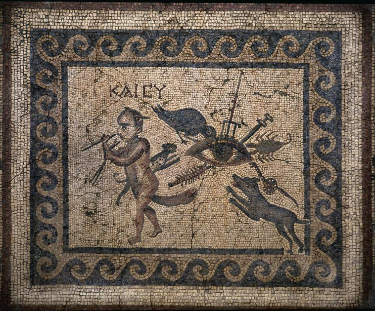 The Evil Eye, Roman Mosaic, 2nd century A.D.    Location:   Location Archaeological Museum, Antakya (Antioch), Turkey    Photo Credit:   Album / Art Resource, NY    Image Reference:   orz172773