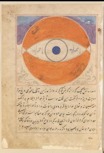 A circle indicates how the air heats up caused by the movement of the lunar sky. From: Curiosities about the creatures and marvels of beings (Adjâyeb al-makhlouqât va gharâyeb al-mowdjoudât), by Tousi Salmani. Copist: Haravi Ahmad. 1338. Painting on paper, 32 x 23 cm. SUPPL PERSAN 332 Folio36recto.    Location:   Bibliotheque Nationale de France (BnF), Paris, France    Photo Credit:   © BnF, Dist. RMN-Grand Palais / Art Resource, NY    Image Reference:   ART474684