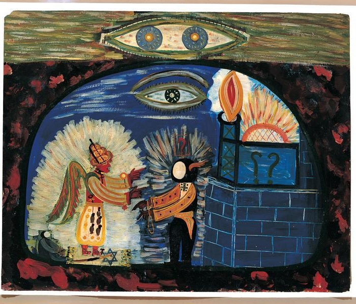 "Peter Attie ""Charlie""  Besharo, (1898-1969)    The Double All-Seeing Eye . Probably 1950s or 1960s. Oil on cardboard. 23 × 28 1/2"". Blanchard-Hill Collection, gift of M. Anne Hill and Edward V. Blanchard, Jr. 1998.10.8. Photo: Gavin Ashworth    Location:   American Folk Art Museum, New York, NY, U.S.A.    Photo Credit:   American Folk Art Museum / Art Resource, NY    Image Reference:   ART521501"
