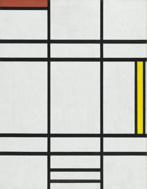 Piet   Mondrian,(1872 - 1944)   Composition in White, Red, and Yellow. 1936. Oil on canvas. 31 1/2 x 24 1/2 in. (80.01 x 62.23 cm). Mr. and Mrs. William Preston Harrison Collection (63.14)    Location:   Los Angeles County Museum of Art, Los Angeles, California, U.S.A.    Photo Credit:   Digital Image © [year] Museum Associates / LACMA. Licensed by Art Resource, NY    Image Reference:   ART491365