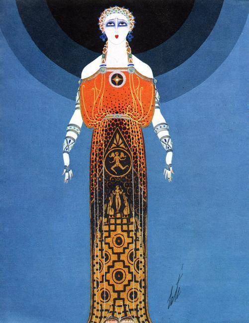 Fashion design by Erte, 1930s. Erte was the pseudonym of the Russian-born French artist and designer Romain de Tirtoff (1892-1990). He is most noted for his art deco fashion designs. Rights information: Cleared for Editorial Use Only. Please Contact Us For Any Other Clearance Rights    Photo Credit:   HIP / Art Resource, NY    Image Reference:   AR998247