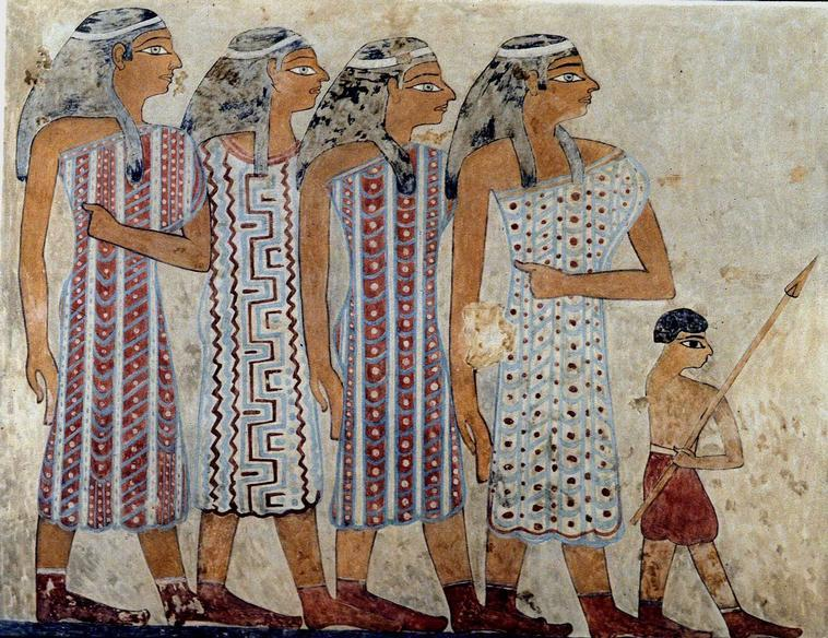 Group of Semite women, wall painting from Beni Hassan, 1920 - 1900 B.C.( Egypt).    Location:   Tomb of Ameni-em-het, Beni Hassan, Egypt    Photo Credit:   Zev Radovan / Art Resource, NY    Image Reference:   ART533777