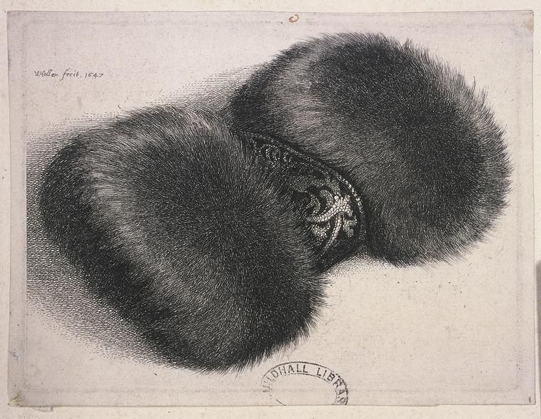 Artist: Wenceslaus Hollar    A large muff with a band of brocade, 1647.    Photo Credit:   HIP / Art Resource, NY    Image Reference:   AR982164