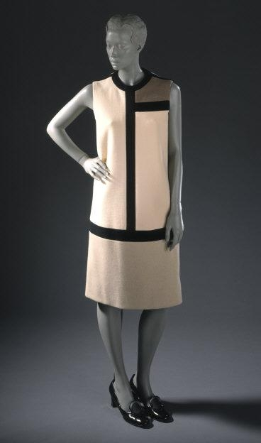 Yves  Saint Laurent,  (1936-2008)   Woman's 'Mondrian' Dress, 1965. Costume/clothing principle attire/entire body, Wool knit. Gift of I. Magnin & Co. (M.66.2)    Location:   Los Angeles County Museum of Art, Los Angeles, California, U.S.A.    Photo Credit:   Digital Image © [year] Museum Associates / LACMA. Licensed by Art Resource, NY    Image Reference:   ART448566