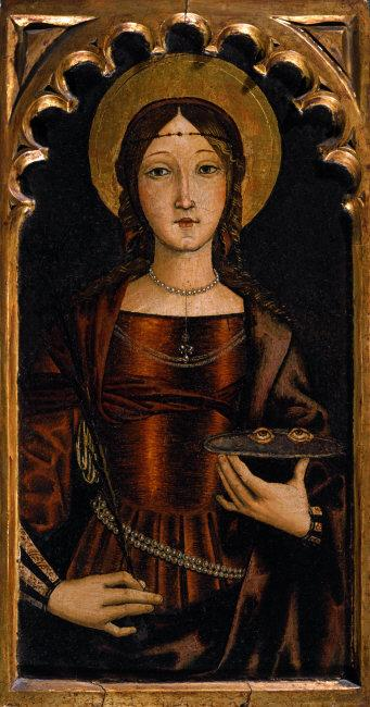 Bernardino di  Mariotto,(1475-1566)    Saint Lucy  (283-304), martyr and patron of the blind and oculists. Oil on panel, 38 x 20 cm.    Location:   Private Collection, Italy    Photo Credit:  A lfredo Dagli Orti / Art Resource, NY    Image Reference:   ART506431