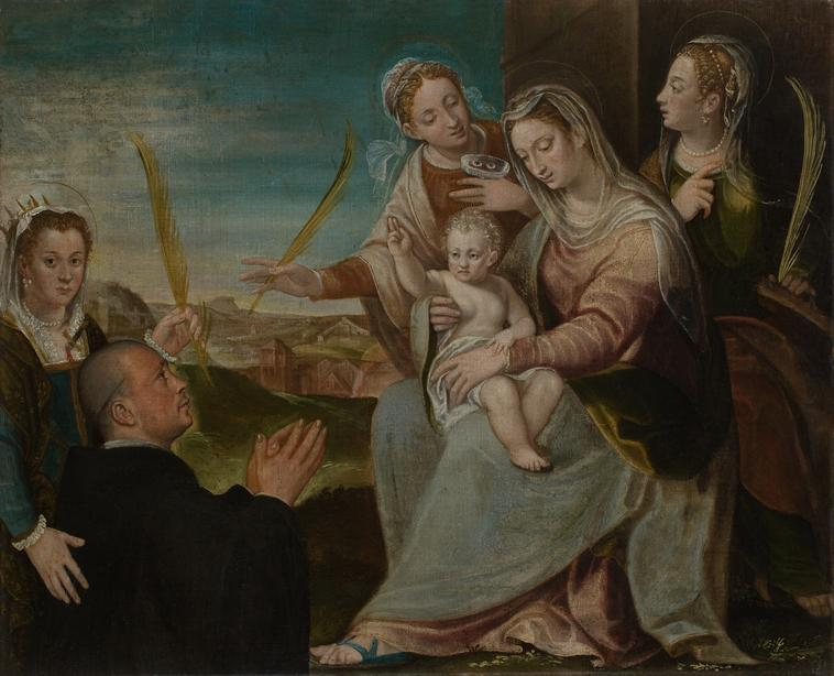 Varotari, Dario, the Elder (1539-1596)     Virgin and child with Sants Catherine, Lucy, Justina of Padua and a Benedictine monk . Found in the collection of the Musei Civici, Padova.    Photo Credit:   HIP / Art Resource, NY    Image Reference:   AR924008