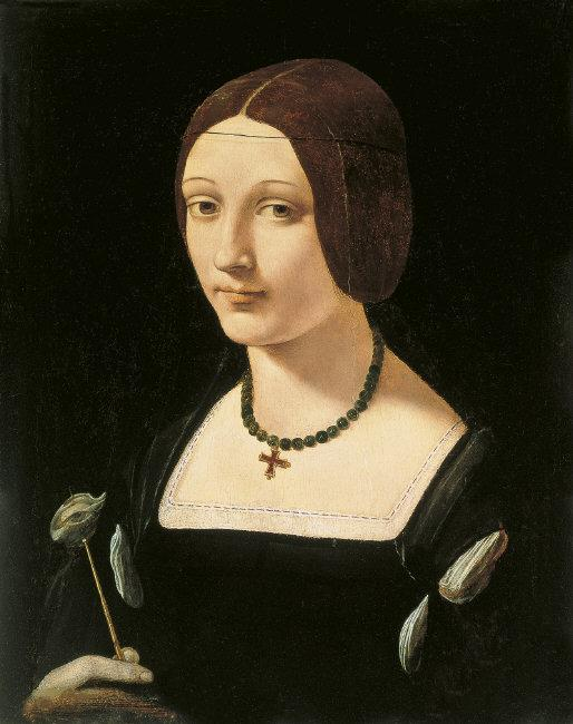Giovannio Antonio  Boltraffio, (1467/71-1516)    Portrait of a Lady as Saint Lucy , ca. 1500. Oil on panel, 51.5 x 36.5 cm. INV.: 52 (1934.44).    Location:   Museo Thyssen-Bornemisza, Madrid, Spain    Photo Credit:   Museo Thyssen-Bornemisza / Scala / Art Resource, NY    Image Reference:   ART477366