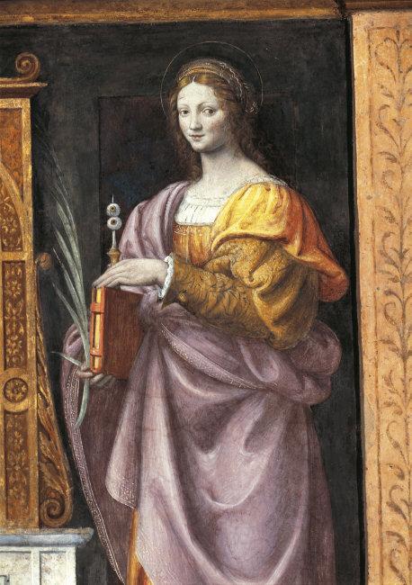 Bernardino  Luini,(c.1475-1532)    St. Lucy , Fresco (1521-1523). Photo: Saporetti    Location:  S. Maurizio, Milan, Italy    Photo Credit:  © DeA Picture Library / Art Resource, NY    Image Reference:  ART377651
