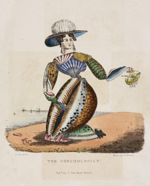 'The Conchologist', c 1831. Print after a drawing by G Spratt of a woman fashioned from sea shells with a sea urchin as a hat, pictured at the seashore.    Location:   Science Museum, London, Great Britain    Photo Credit:   SSPL/Science Museum / Art Resource, NY    Image Reference:   ART399452