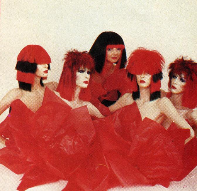 Red and black hair fashion, 1980s. Rights information: Cleared for Editorial Use Only. Please Contact Us For Any Other Clearance Rights    Photo Credit:   HIP / Art Resource, NY    Image Reference:   AR998859