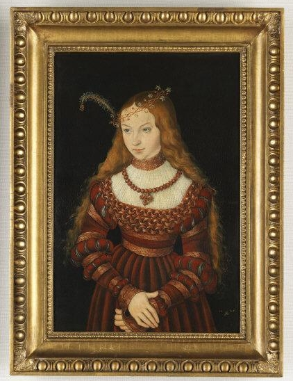 Lucas the Elder   Cranach, (1472-1553)   Sibylle von Cleve (1512-1554). 1526. Mixed technique on red beech wood, 57,00 x 39,00 cm. Inv. G 12.    Location:   Klassik Stiftung , Weimar, Germany    Photo Credit:   bpk Bildagentur /  Art Resource, NY    Image Reference:   ART515101