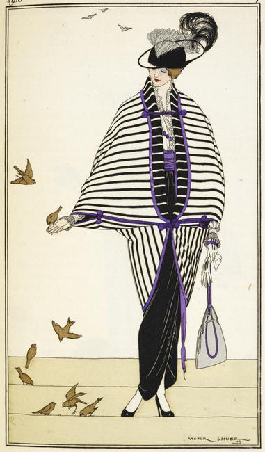 A woman wearing an black and white outift, with purple trimming feeding birds. Frech fashion. (Demi-deuil. Coutour.) Illustrated by Victor Lhuer.    Photo Credit:   © British Library Board / Robana / Art Resource, NY    Image Reference:   AR9111264