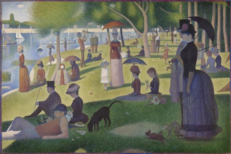 Georges  Seurat, (1859-1891)    A Sunday on La Grande Jatte . 1884, 1884/86. Oil on canvas, 81 3/4 x 121 1/4 in. (207.5 x 308.1 cm). Helen Birch Bartlett Memorial Collection, 1926.224.    Location:  The Art Institute of Chicago, Chicago, USA    Photo Credit:  The Art Institute of Chicago / Art Resource, NY    Image Reference:  ART526992
