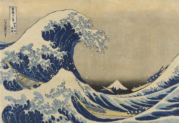 """Hokusai  Katsushika (1760-1849)    Under the Wave off Kanagawa  (Kanagawa oki nami ura), also known as the Great Wave, from the series """"Thirty-six Views of Mount Fuji (Fugaku sanjurokkei)"""", c. 1830/33. Color woodblock print; oban, 25.4 x 37.6 cm (10 x 14 3/4 in.) Clarence Buckingham Collection, 1928.1086.    Location:  The Art Institute of Chicago, Chicago, U.S.A.    Photo Credit:  The Art Institute of Chicago / Art Resource, NY    Image Reference:  ART528763"""