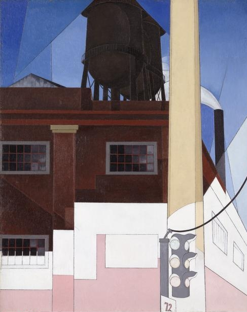 """Charles  Demuth, (1883-1935)   ... And the Home of the Brave , 1931. The painting's title is the last line of """"The Star-Spangled Banner,"""" which was adopted as the national anthem in 1931. Oil and graphite on fiber board, 74.8 x 59.7 cm (29 1/2 x 23 1/2 in.). Alfred Stieglitz Collection, gift of Georgia O'Keeffe, 1948.650.    Location:  The Art Institute of Chicago, Chicago, U.S.A.    Photo Credit:  The Art Institute of Chicago / Art Resource, NY    Image Reference:  ART527223"""